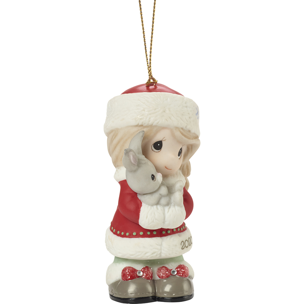 Every Bunny Loves A Christmas Hug - Precious Moments 2020 dated girl ornament