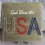 God Bless the USA string art sign