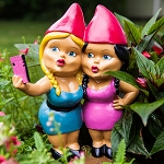Selfie Sisters Garden Gnome