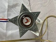 United States Navy pressed metal ornament with raised acrylic dome