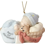 2018 dated Precious Moment baby boy ornament