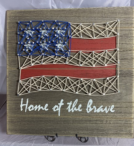 Home of the Brave Flag string art sign