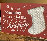 Look's Like Christmas-knit stocking box sign